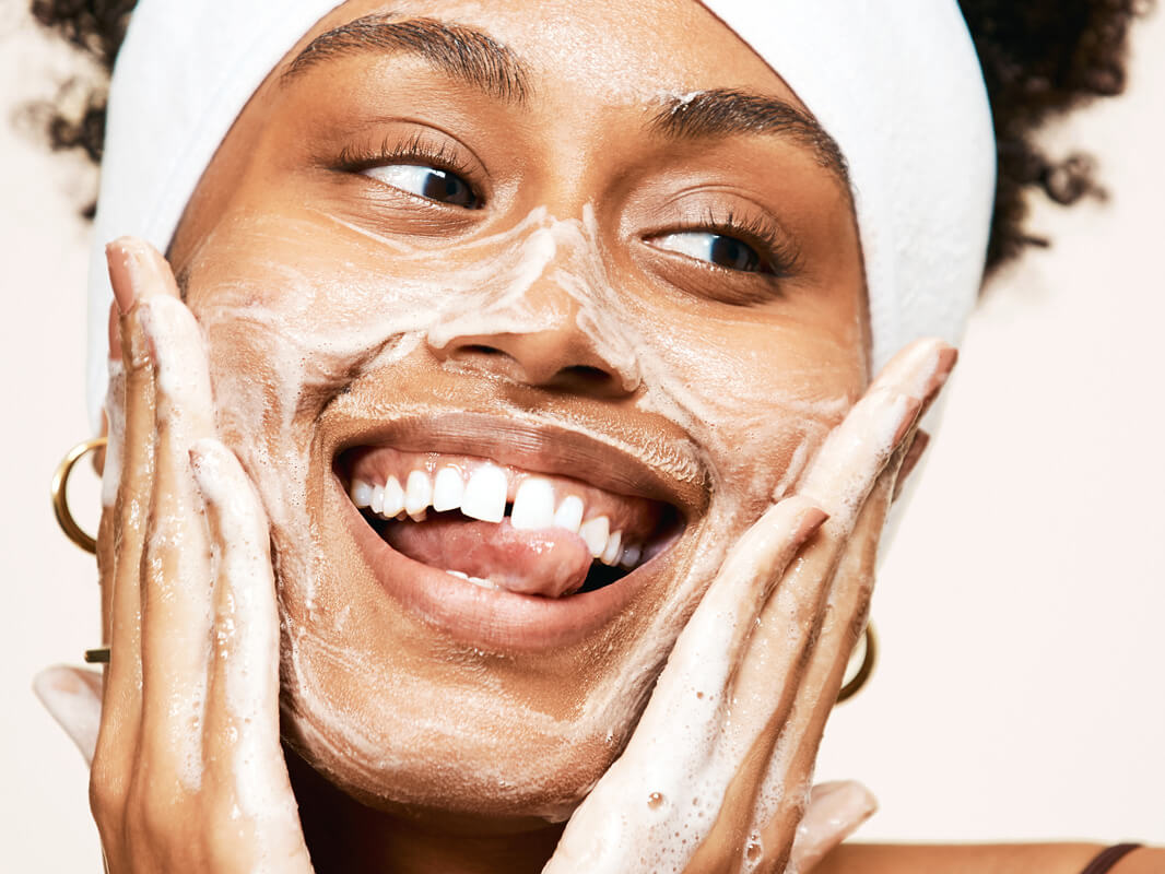 Taj using Exfoliating Jelly Cleanser, a daily gentle cleanser