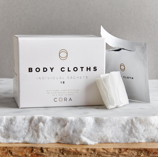 Cora body cloths in individual sachets