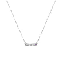 kait and toby medium size gemstone bar necklace with diamonds and february birthstone amethyst on thin white gold chain