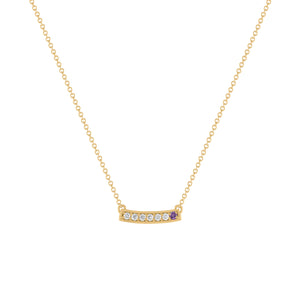 kait and toby medium size gemstone bar necklace with diamonds and february birthstone amethyst on thin yellow gold chain