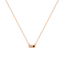 kait and toby small size gemstone bar necklace with diamonds and april birthstone black diamond on thin rose gold chain