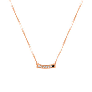 kait and toby medium size gemstone necklace with diamonds and april birthstone black diamond on thin rose gold chain