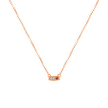 kait and toby small size gemstone bar necklace with diamonds and january birthstone garnet on thin rose gold chain