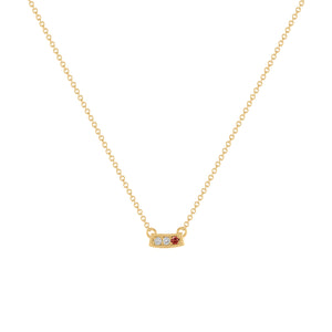 Kait and Toby Mini Yellow Gold Necklace with Garnet Birthstone