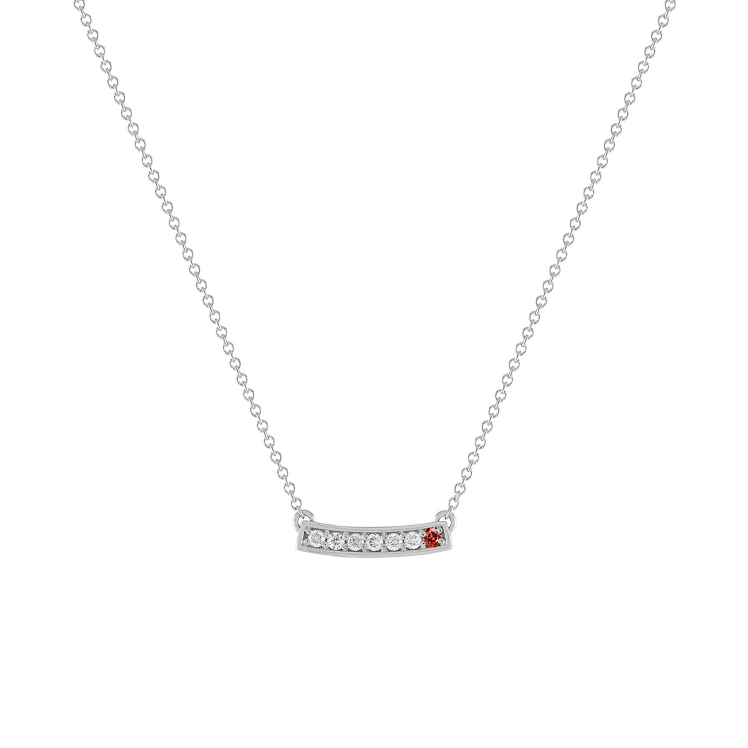 kait and toby medium size gemstone bar necklace with diamonds and january birthstone garnet on thin white gold chain
