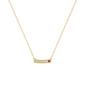 kait and toby medium size gemstone bar necklace with diamonds and january birthstone garnet on thin yellow gold chain