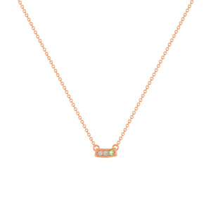 kait and toby small size gemstone bar necklace with diamonds and june birthstone alexandrite on thin rose gold chain