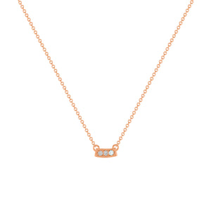 kait and toby small size gemstone bar necklace with diamonds and march birthstone aquamarine on thin rose gold chain