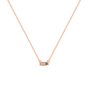 kait and toby small size gemstone bar necklace with diamonds and december birthstone blue topaz on thin rose gold chain