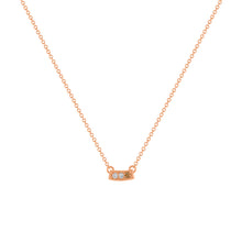 kait and toby small size gemstone bar necklace with diamonds and april birthstone chocolate diamond on thin rose gold chain