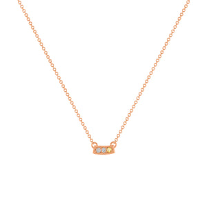 kait and toby small size gemstone bar necklace with diamonds and november birthstone citrine on thin rose gold chain