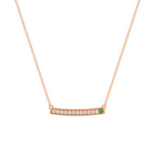 kait and toby large rose gold gemstone necklace with may birthstone emerald