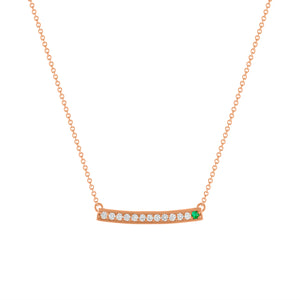 Kait and Toby Large Rose Gold Gemstone Necklace with Emerald Birthstone