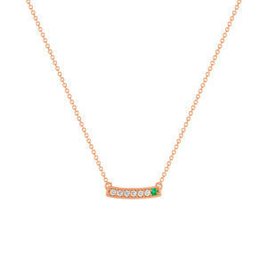 kait and toby medium size gemstone necklace with diamonds and may birthstone emerald on thin rose gold chain