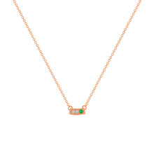 kait and toby small size gemstone bar necklace with diamonds and may birthstone emerald on thin rose gold chain