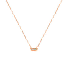 kait and toby small size gemstone bar necklace with diamonds and august birthstone peridot on thin rose gold chain