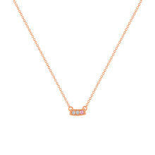 kait and toby small size gemstone bar necklace with diamonds and october birthstone pink tourmaline on thin rose gold chain