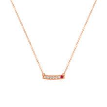 kait and toby medium size gemstone necklace with diamonds and july birthstone ruby on thin rose gold chain