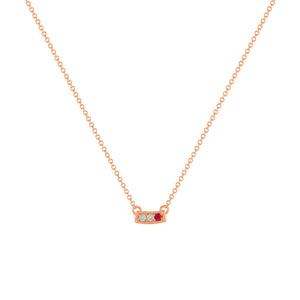 kait and toby small size gemstone bar necklace with diamonds and july birthstone ruby on thin rose gold chain