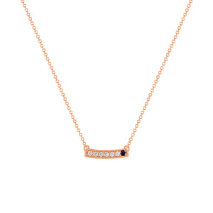 kait and toby medium size gemstone necklace with diamonds and september birthstone sapphire on thin rose gold chain