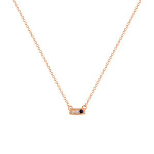 kait and toby small size gemstone bar necklace with diamonds and september birthstone sapphire on thin rose gold chain