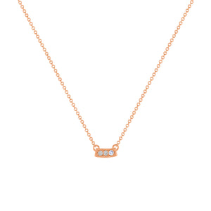 kait and toby small size gemstone bar necklace with diamonds and december birthstone tanzanite on thin rose gold chain
