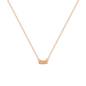 kait and toby small size gemstone bar necklace with diamonds and april birthstone yellow diamond on thin rose gold chain
