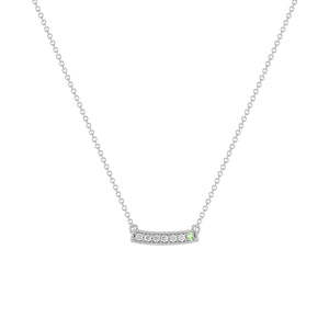 kait and toby medium size gemstone bar necklace with diamonds and june birthstone alexandrite on thin white gold chain
