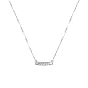 kait and toby medium size gemstone bar necklace with diamonds and march birthstone aquamarine on thin white gold chain