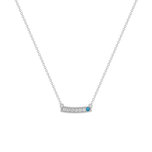 kait and toby medium size gemstone bar necklace with diamonds and december birthstone blue topaz on thin white gold chain