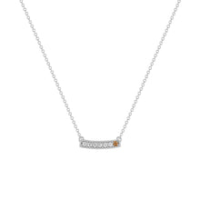 kait and toby medium size gemstone bar necklace with diamonds and april birthstone chocolate diamond on thin white gold chain