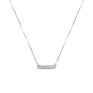 kait and toby medium size gemstone bar necklace with diamonds and november birthstone citrine on thin white gold chain