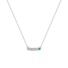 kait and toby medium size gemstone bar necklace with diamonds and may birthstone emerald on thin white gold chain