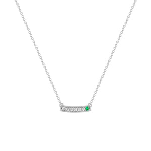 kait and toby medium size gemstone necklace with diamonds and may birthstone emerald on thin white gold chain