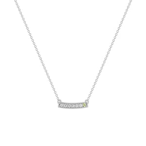 kait and toby medium size gemstone bar necklace with diamonds and august birthstone peridot on thin white gold chain