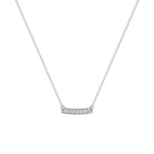 kait and toby medium size gemstone bar necklace with diamonds and october birthstone pink tourmaline on thin white gold chain