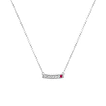 kait and toby medium size gemstone bar necklace with diamonds and june birthstone ruby on thin white gold chain