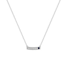kait and toby medium size gemstone bar necklace with diamonds and september birthstone sapphire on thin white gold chain