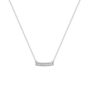 kait and toby medium size gemstone bar necklace with diamonds and december birthstone tanzanite on thin white gold chain
