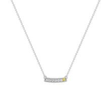kait and toby medium size gemstone bar necklace with diamonds and april birthstone yellow diamond on thin white gold chain