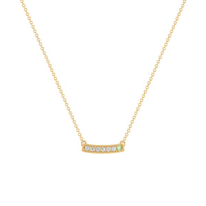 kait and toby medium size gemstone bar necklace with diamonds and june birthstone alexandrite on thin yellow gold chain
