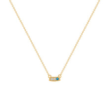 Kait and Toby Mini Yellow Gold Necklace with Blue Topaz Birthstone