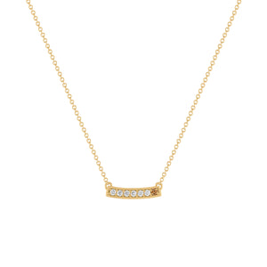 kait and toby medium size gemstone bar necklace with diamonds and april birthstone chocolate diamond on thin yellow gold chain