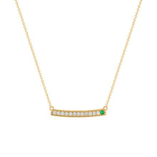 kait and toby large yellow gold gemstone necklace with may birthstone emerald