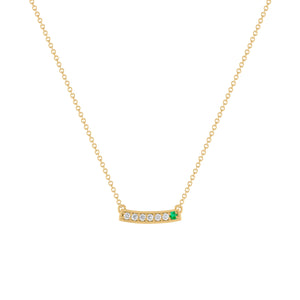 kait and toby medium size gemstone bar necklace with diamonds and may birthstone emerald on thin yellow gold chain