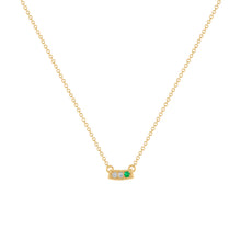 Kait and Toby Mini Yellow Gold Necklace with Emerald Birthstone