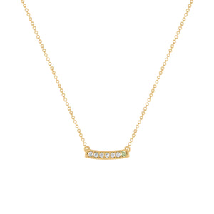 kait and toby medium size gemstone bar necklace with diamonds and august birthstone peridot on thin yellow gold chain