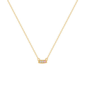 Kait and Toby Mini Yellow Gold Necklace with Pink Tourmaline Birthstone