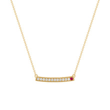 kait and toby large yellow gold gemstone necklace with july birthstone ruby