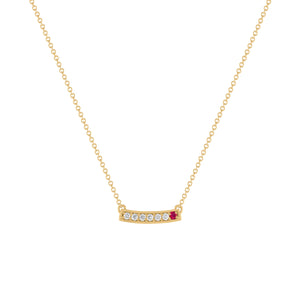 kait and toby medium size gemstone bar necklace with diamonds and july birthstone ruby on thin yellow gold chain